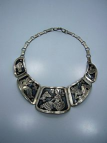 Vintage Mexican Silver Far Fan Storyteller Necklace
