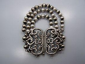 Los Castillo Vintage Mexican Silver Bead Bracelet #228