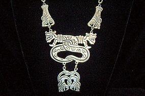 Vintage Mexican Silver Carved Quetzalcoatl Necklace