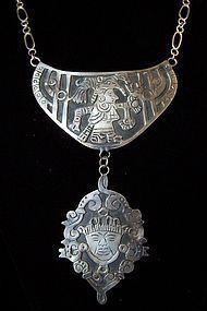 Vintage Mexican Silver Dramatic Length Necklace