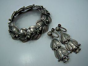 Valentin Vidauretta Bracelet / Earrings Mexican Silver