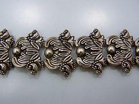 Masterful Repousse Vintage Mexican Silver Bracelet