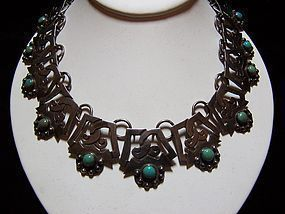 980 Vintage Mexican Silver Turquoise Necklace