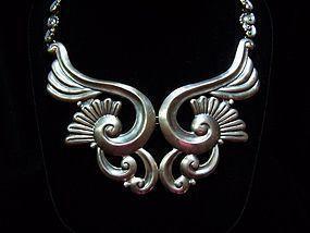 Vintage Mexican Silver Lotus Necklace