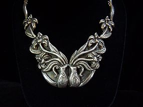 Incredible Vintage Mexican Silver Floral Necklace