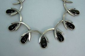 Antonio Pineda Obsidian  Mexican Silver Necklace