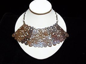 Santana Vintage Mexican Silver Cut Work Necklace
