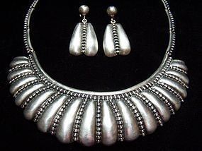 Hilario Lopez Vintage Mexican Silver Beaded Necklace