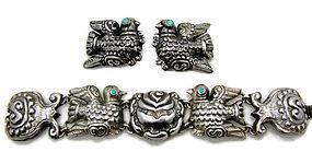 Palomas y Roses Mexican Silver Vintage Bracelet Matl Design