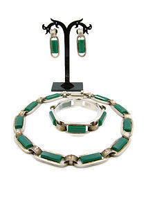 Cheo Chrysoprase Vintage Mexican Silver Parure