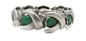 Antonio Pineda Chrysoprase Mexican Silver Bracelet