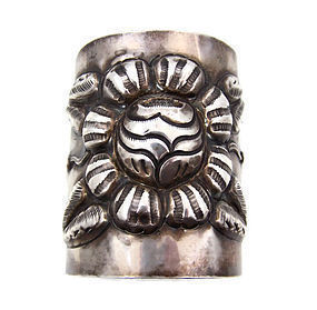 Tobias Mexican Silver Huge Repousse Vintage Cuff