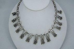 Vintage Mexican Silver Tulip Necklace