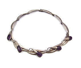 Amethyst Flower and Leaf Mexican Silver Necklace