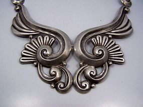 Gerardo Lopez Vintage Mexican Silver Lotus Necklace
