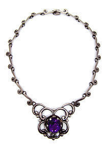 Nestor Vintage Mexican Silver Purple Stone Necklace