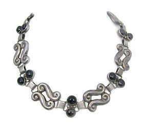 Onyx Swirl Vintage Mexican Silver Necklace