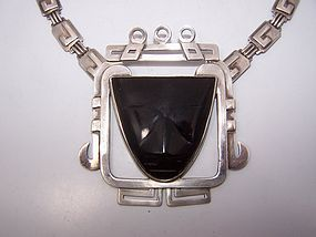 Abraham Paz Obsidian Vintage Mexican Silver Necklace