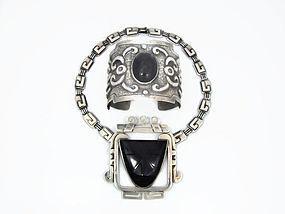 Tobias Repousse Onyx Vintage Mexican Silver Bracelet