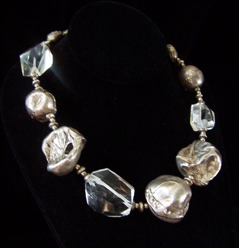 Mexican Silver Rock Crystal And Hand Made Ball Sterling Necklace