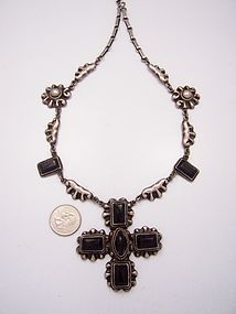 Rafael Melendez Vintage Mexican Silver Cross Onyx Necklace