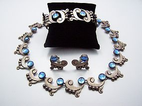 Martinez Blue Vintage Mexican Silver Necklace Bracelet Earrings