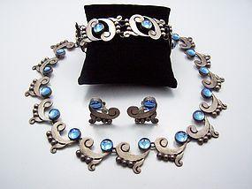 Martinez Blue Vintage Mexican Silver Necklace Bracelet Earrings