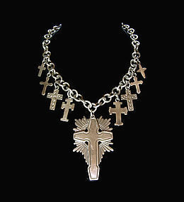 Old Los Castillo Vintage Mexican Silver Cross Huge & Layered