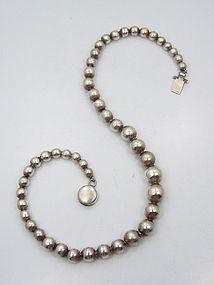 William Spratling Vintage Mexican Silver Single Strand Silver Pearls
