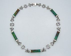 Vintage Mexican Silver Stone And Cylinder Necklace Taxco