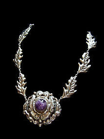 Huge Vintage Mexican Silver  Repousse Flower Necklace