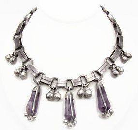 Spratling Amethyst Casa Belles Vintage Mexican Silver Necklace