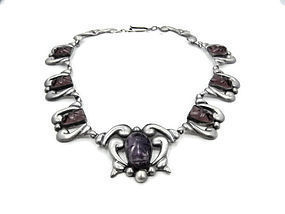 Vintage Mexican Silver Amethyst Repousse Necklace
