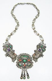An Early Matilde Poulat Matl Vintage Mexican Silver Necklace Jeweled