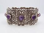 Repousse Parra Vintage Mexican Silver Bracelet Amethyst