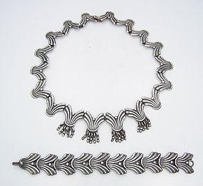 Signed APA Bracelet Necklace Vintage Mexican Fringed Silver Set