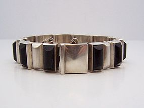 Antonio Pineda Vintage Mexican Silver Obsidian Stone Bracelet