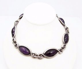 Antonio Pineda Early Vintage Mexican Silver Tono Amethyst Necklace
