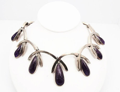 Antonio Pineda Vintage Mexican Silver Amethyst Teardrop Necklace