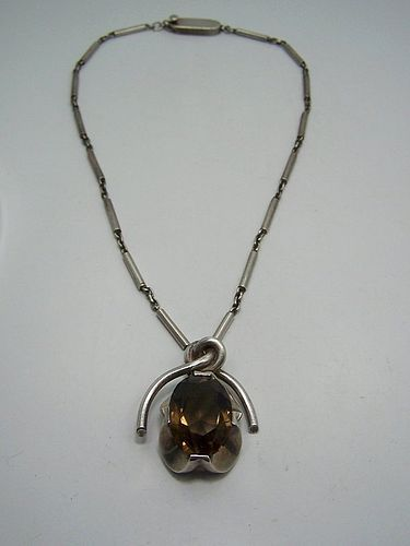 Antonio Pineda Smokey Quartz Vintage Silver Mexican Necklace