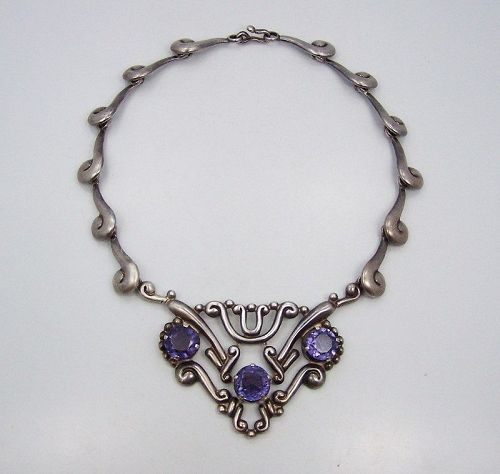 Los Ballesteros Purple Stone Pectoral Necklace
