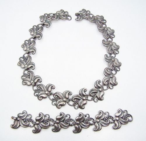 Margot de Taxco 5488 Vintage Mexican Silver Necklace Bracelet Set