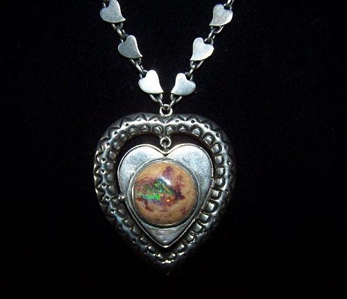 Vintage Mexican Silver Large Fire Opal Locket Necklace