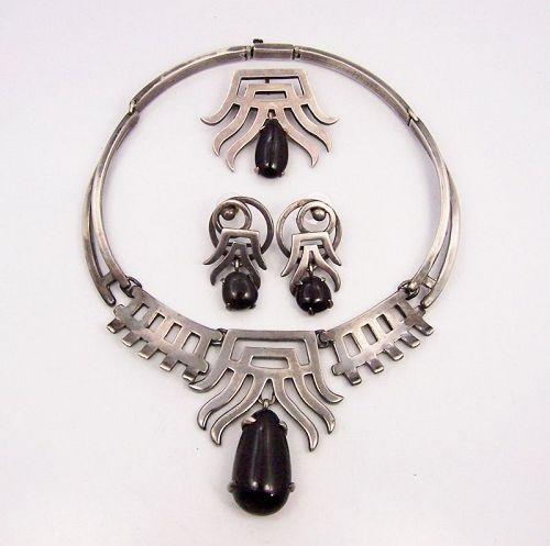 Salvador Teran Vintage Mexican Silver Stone Drop Necklace Brooch Err