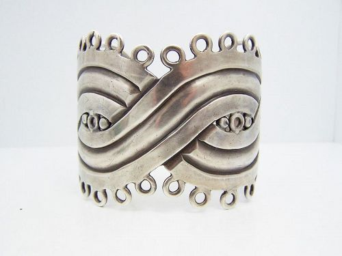 William Spratling Mask Heavy Mexican Silver Bracelet Cuff