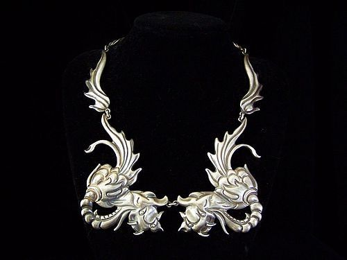 Los Castillo #  291 Vintage Mexican Silver Dragons Necklace