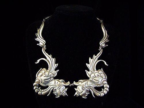 Los Castillo #  291 Vintage Mexican Silver Dragons Necklace
