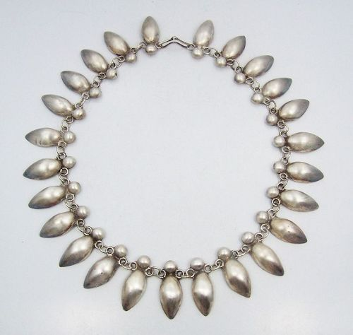 Vintage Mexican Silver Oval & Ball Link Necklace