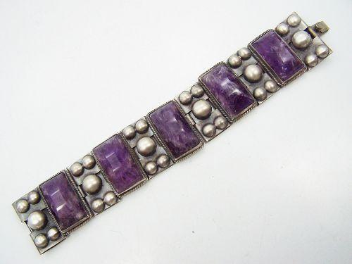 Vintage Mexican Silver Barrel Cut Amethyst Bracelet