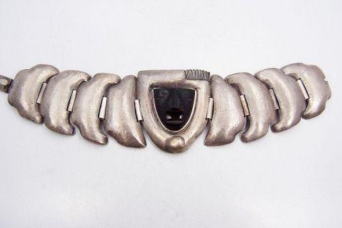 Rare Matilde Poulat Matl Repousse Onxy Vintage Mexican Silver Bracelet